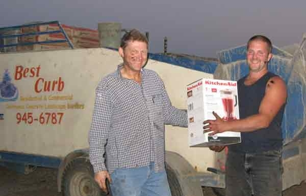 This is David rewarding SuperDave He mixes with one hand and can carry three bags of cement on his shoulder.
