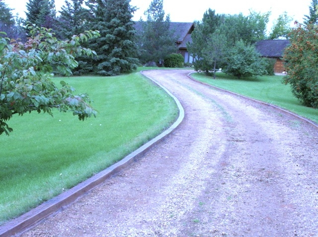 stamped decorative edge defines the driveway