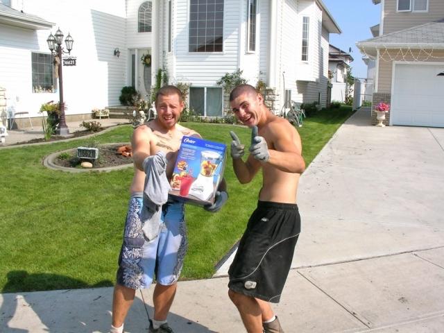 Kyle and Carson celebrate Kyle's mixmaster award
