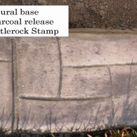 Base- natural  Release- dark grey  Stamp- castlerock curb