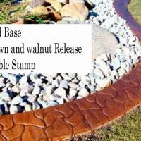 Base-  harvest gold  Release-  brown, walnut  Stamp- cobble curb