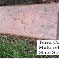 Base- terra cotta medium  Release- black specks, brown, walnut. beige specks  Stamp- slate curb