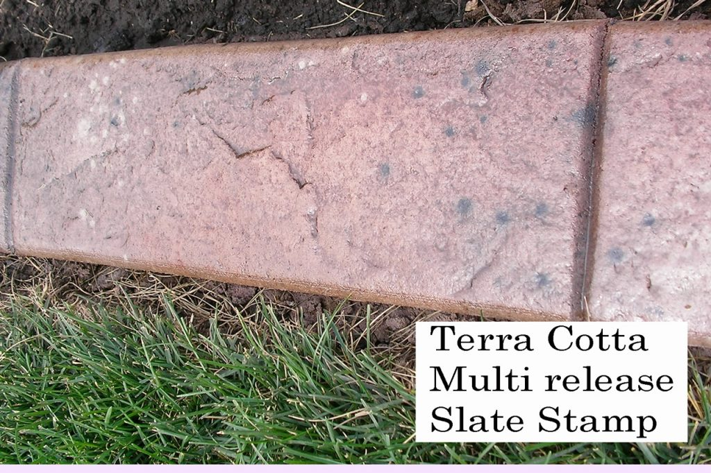 Base- terra cotta medium  Release- black specks, brown, walnut. beige specks  Stamp- slate curb