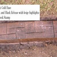 Base-  Harvest Gold dark Release-  walnut, black  beige specks Stamp- castlerock curb