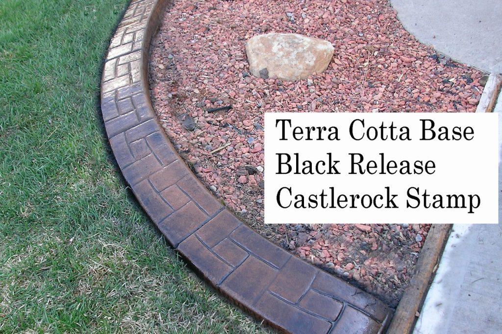 Base-  terra cotta dark Release-  black  Stamp- castlerock curb