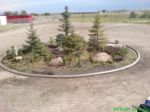 turn around landscape feature in industrial site