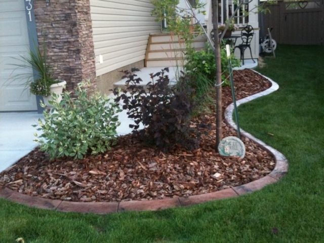 typical front bed area curb colour goes well with stonework on house