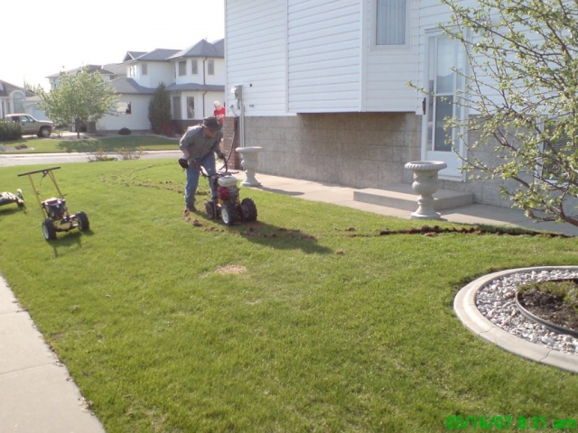 sod cutting a new bed area