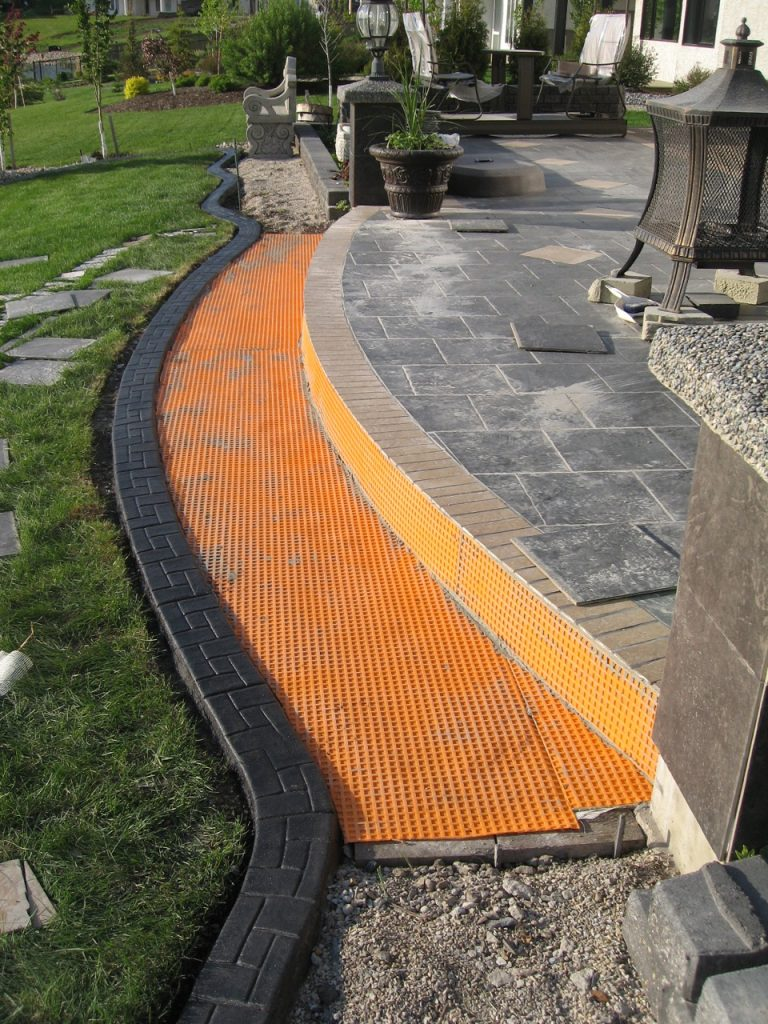 a transition step area created by patio